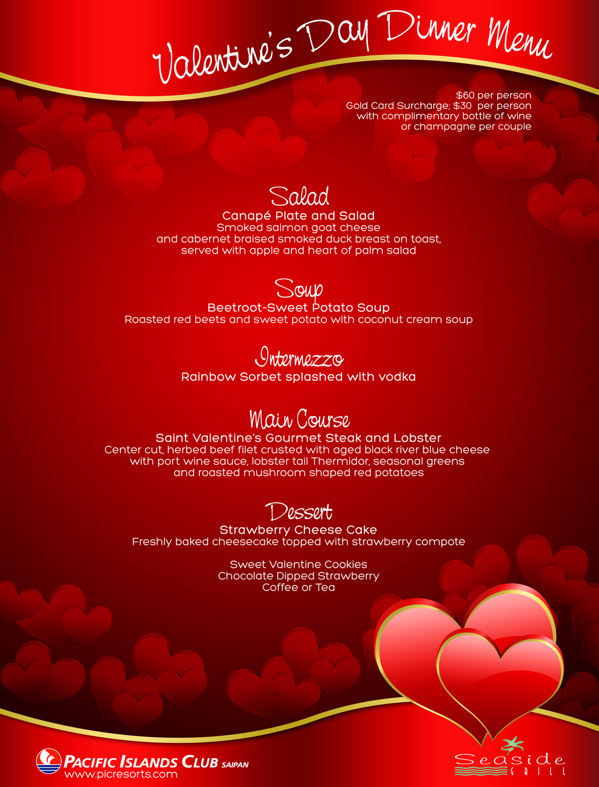 Valentine S Dinner Menu At Seaside Grill Pic Saipan S Blog