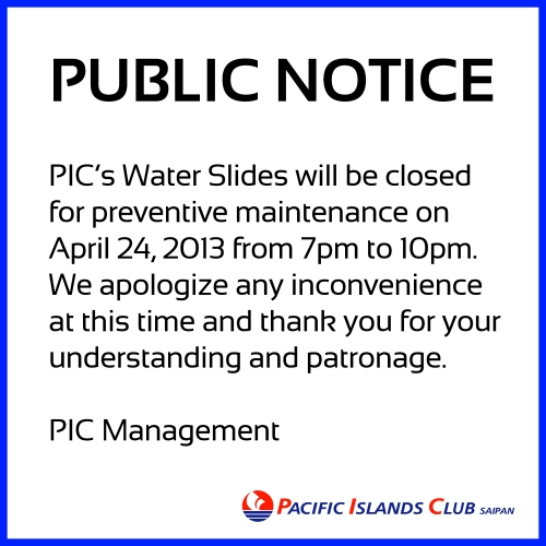 Water Slides Closure 2013